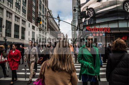 Stock Photo Large Crowd Crossing in Crosswalk